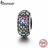 Bamoer Authentic S925 Sterling Silver Charm Spacer With the rainbow CZ Jewelry