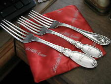 """3 Diff. GEORGE W. WEBB Mid 1800s COIN SILVER FORKS, A.D. Marchant family, 7-8"""""""