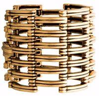 Oscar de la Renta Massive Runway Designer Cuff Bracelet Bangle Gold Gate Link