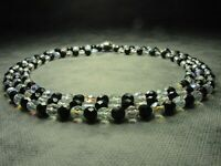 Vintage Bohemian 3-Row Faceted Black & Aurora Borealis Glass Bead Necklace