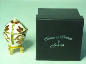 Juliana Treasured Trinkets JEWELLED EGG Figure Metal Trinket Box + Original Box