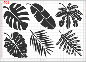 Tropical Leaves pack Stencil MYLAR A4 sheet strong reusable Art Craft WALL DECO