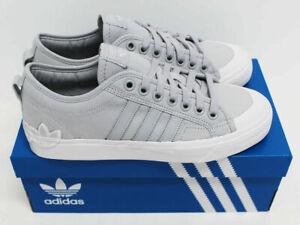 NIB ADIDAS Men's Nizza Logo Light-Grey White Low Top 11.5 Sneakers Tennis Shoes