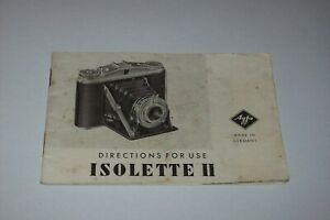 VINTAGE INSTRUCTIONS MANUAL FOR THE AGFA ISOLETTE II CAMERA - FREE SHIPPING