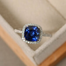 2.20Ct Genstone Blue Sapphire Engagement Ring Cushion Cut 14K Solid White Gold