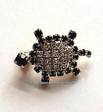 Gold Plated Crystal Sea Turtle Pin Brooch Nautical Beach Sea Life USA Seller