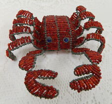 Hand Crafted Crab Red Glass Beaded Wire Sculpture Beadworx Beach Cancer Symbol