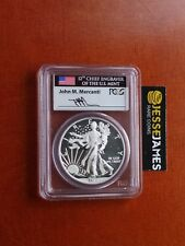 2013 W ENHANCED UNCIRCULATED SILVER EAGLE PCGS SP69 RARE FLAG MERCANTI SIGNED