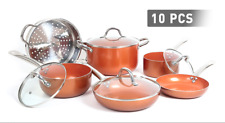 Copper 10 Piece Non Stick Cookware Set - Pots, Pans, Steamers, Skillets
