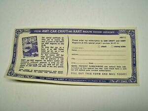 AMT - Car Craft & Kart Styline in kit discount certificate from 1961