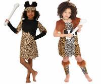 Kids Cave Girl Animal Print Fancy Dress Stone Age Costume Robe Belt Bandana