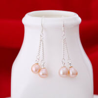 New Women's 6-7mm Genuine Natural Freshwater Pearl Real Silver Dangle Earrings