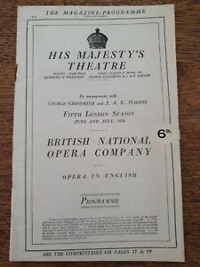 His Majestys Theatre programmme Magazine 1924 GEORGE GROSSMITH JAE MALONE