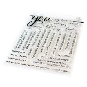 """Pinkfresh Studio 6x8"""" Simply Sentiments Clear Stamp Set Choose Hello or You"""