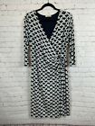 GILLI blue white faux wrap knit lined V-neck dress size L-XL