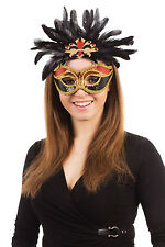 Red Black Gold Carnival Mask Masquerade Ball Mardi Gras Fancy Dress Accessory