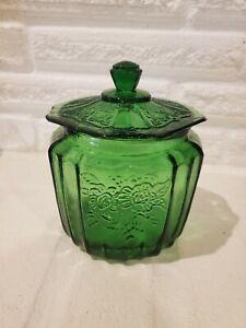 Mayfair Open Rose Anchor Hocking Green Depression Glass Vintage Cookie Jar