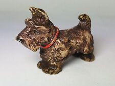 Vintage Miniature Scotty Schnauzer Brown Figurine Hard Plastic Toy Figure