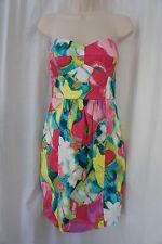 Donna Morgan Dress Sz 6 Pink Multi Floral Strapless Cocktail Summer Party Dress