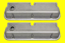 Ford 289 302 351W  Cast Finned Aluminum Valve Covers Polished Aluminum Made Usa