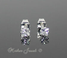 3mm 925 STERLING SILVER Simulated Diamond Square Mens Ladies Girls Boys Earrings