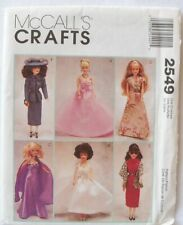 "McCall's Pattern 2549 Barbie Doll Clothes Dresses, Gowns 11 1/2"" Uncut"