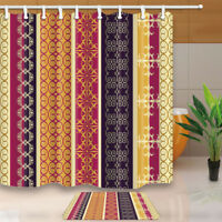Vintage Floral Pattern Red Yellow Black Waterproof Fabric Shower Curtain & Hooks