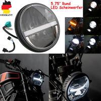 Universal Motorrad 7'' LED Scheinwerfer Projektor Lampe Gelb + Weißes Licht DRL