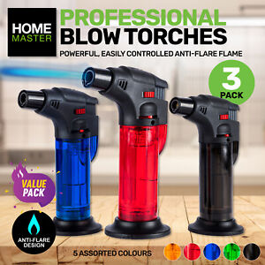 Home Master Blow Torch 3PK Jet Lighter Kitchen Tobacco Safety Lock Refillable