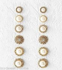 6Pair Fashion Rhinestone Crystal Pearl Earrings Set Women Ear Stud Jewelry Gift