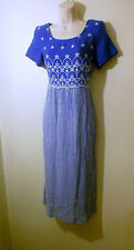 Vintage 80s Dress Another Thyme Cobalt Blue Bodice White Floral Embroidery Sz 6P