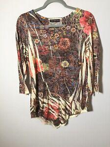 zen garden womens boho floral t shirt top size XL 3/4 sleeves