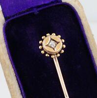 Antique Victorian 9Ct Gold And Diamond Stick / Tie Pin