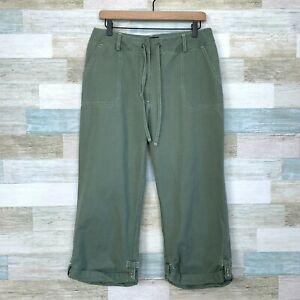 Eddie Bauer Roll Up Ankle Pants Green High Rise Cargo Utility Hiking Womens 12P
