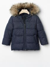 GAP Baby Toddler Girls 18-24 Months Blue Metallic Silver Puffer Coat w/Fur Hood