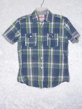 Hollister Kids Boy Medium Short Sleeve Button Shirt Checkers Gray Lime Slate