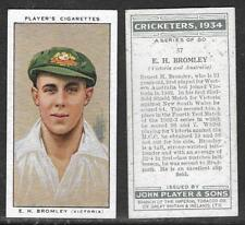PLAYER'S 1934 CRICKETERS E.H.BROMLEY Card No 37 of 50 CRICKET CIGARETTE CARD