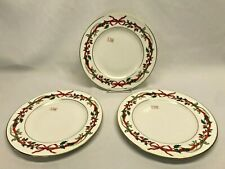 NWT 3 Royal Worcester Holly Ribbons Luncheon Plates Christmas China 1987 ENGLAND