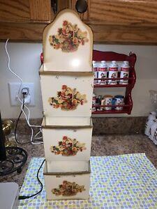 Vintage Metal Letter Mail Bills Wall Holder Organizer Fruit Flower Basket Decals