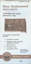 USGS Planimetric Topo Map NEW UNDERWOOD South Dakota -1984- 100K - elevations -