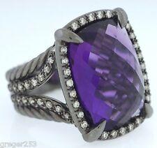 David Yurman Sterling Silver 20X15mm Amethyst Diamond Chatelaine Ring Size 7