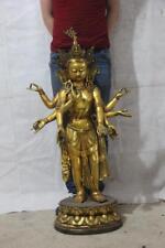 Chinese fengshui Copper Bronze Gild Eight-arm Guanyin Kwanyin Bodhisattva Statue