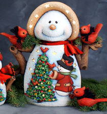 Ceramic Bisque Ready to Paint Large Mama Snowlady with Scene ~Clipin light incl.