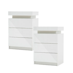 2x LaBella Bedside Tables 3 Drawers RGB LED Cabinet Nightstand Gloss WHITE