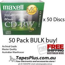 50 x  Blank CD-RW CD RW CD Rewritable 12x  Jewel Case Maxell 700mb 80min