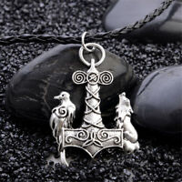 Mens Nordic Viking Mjolnir Wolf Crow Pendant Chain Myth Thor's Hammer Necklace