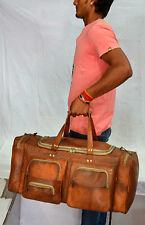 Real goat leather handmade travel luggage vintage holiday genuine duffel bag