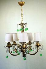 schöne antike Deckenlampe Kronleuchter 5flg florales Dekor Blech und Glas