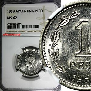 Argentina 1959 1 Peso NGC MS62 TOP GRADED COIN BY NGC KM# 57