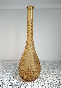 60s 70s Yellow Amber Diamond Cut Decanter Genie Bottle Italy Empoli Glass MCM